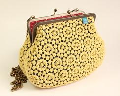 Bolsa Cora��o de M�e Renda- Amarelo&Azul