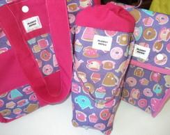 Kit t�rmico com bolsa Rosa Cupcakes