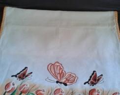 Pano de prato pintura em tecido e croch�