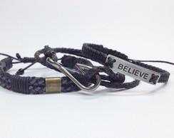 Kit pulseiras masculinas Believe
