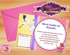 Convite Ch� de Fraldas Menina