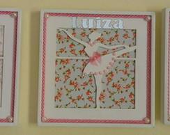 Trio Quadrinhos Vazados-Bailarina Floral