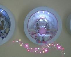 Trio de Nichos com LED e Bonecas de Pano