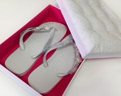 Caixa e Sand�lias - Floral Branco