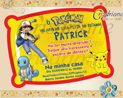 Convite Festa Do Pijama Pokemon