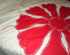 COLCHA DE CAMA FLOWER RED