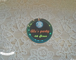 Adesivo ou Tag 5 cm - Festa Disco