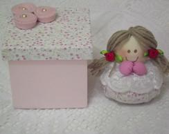 Conjunto Caixa E Sach� Anjinha rosa