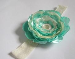 Faixa Flor Cetim Grande Verde Aqua Bege