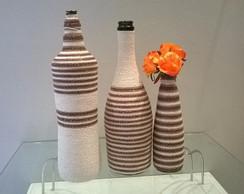 Trio de garrafas decorativas degrad�