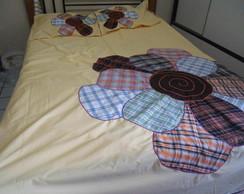colcha de cama flor xadrez!