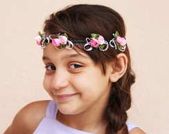 Head Band Flores e Strass