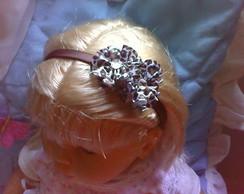 tiara com flor de fita