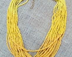 Colar De fios de mi�anga degrade amarelo