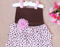 Vestido Infantil Marrom e rosa bolinha