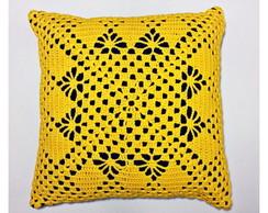 Almofada Croch� Amarela - 40x40cm