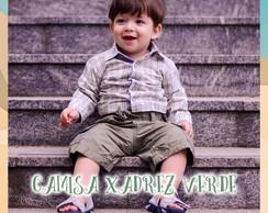 Camisa Infantil Body Xadrez Verde