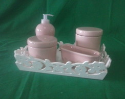 KIT HIGIENE BEBE, ROSA LISO DISPENSER