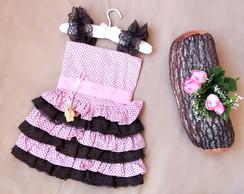 Vestido ursinha Marrom e rosa