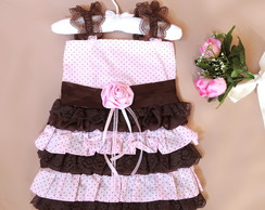 Vestido de Babados marrom e rosa