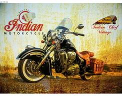 Placa Vintage Retr� - Indian Motorcycle