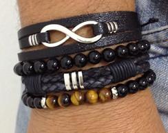 Kit pulseiras masculinas onix infinito