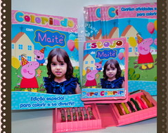 Kit revista Colorir Peppa Pig com estojo