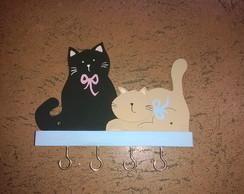 """Porta-chaves """" Dupla de gatinhos"""""""