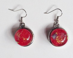 Rojo y Dorado - brincos de murano