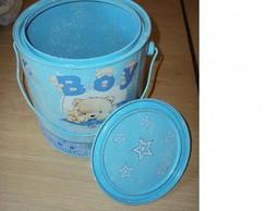 Baldinho alum�nio Urso- Menino azul