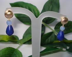 FRETE GR�TIS Brinco Jade Azul Bic