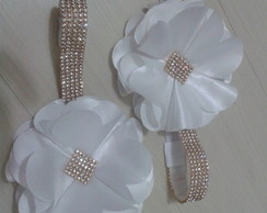 Headband strass com flor big