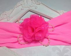 Faixa BABY meia de seda PINK com flor