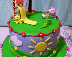 Maquete Bolo Falso Peppa Flores /Biscuit