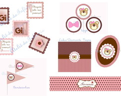 Kit Digital Flor Marrom e Rosa