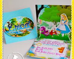 Convite 3D Pop Up Alice Pais Maravilhas