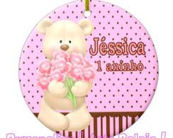 Super Tag 8 cm Com Fitinha Ursinha Rosa