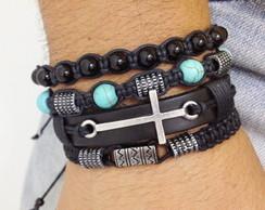 Kit pulseiras masculinas crucifixo couro