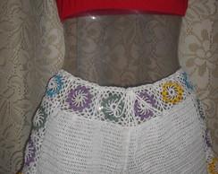 short em croche - flores