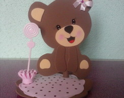 Centro de mesa Urso marrom e rosa azul