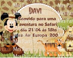 Convite Mickey Safari 13 cm
