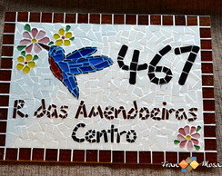 "N�mero De Casa Mosaico""Beija-Flor"" Azul"