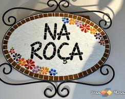 N�mero De Casa Mosaico Oval (Ferro)