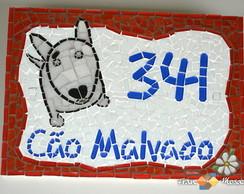 """Placa N�mero De Casa Mosaico """"Terrier"""""""