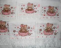 Toalhas lembrancinhas Ursa marrom e rosa