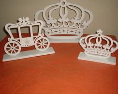 Kit coroa e carruagem princesa MDF