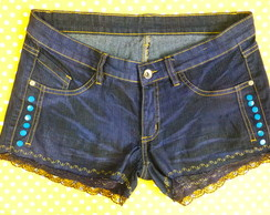 short jeans costumizado 42 stretch renda