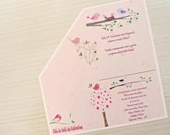 Convite Ch� de Beb� Passarinhos Rosa