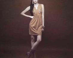 Vestido Gola V em algod�o colorido