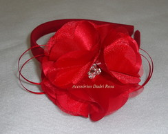 Tiara Flor Cetim Vermelha